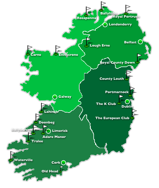 Map of Golf Regions in Ireland